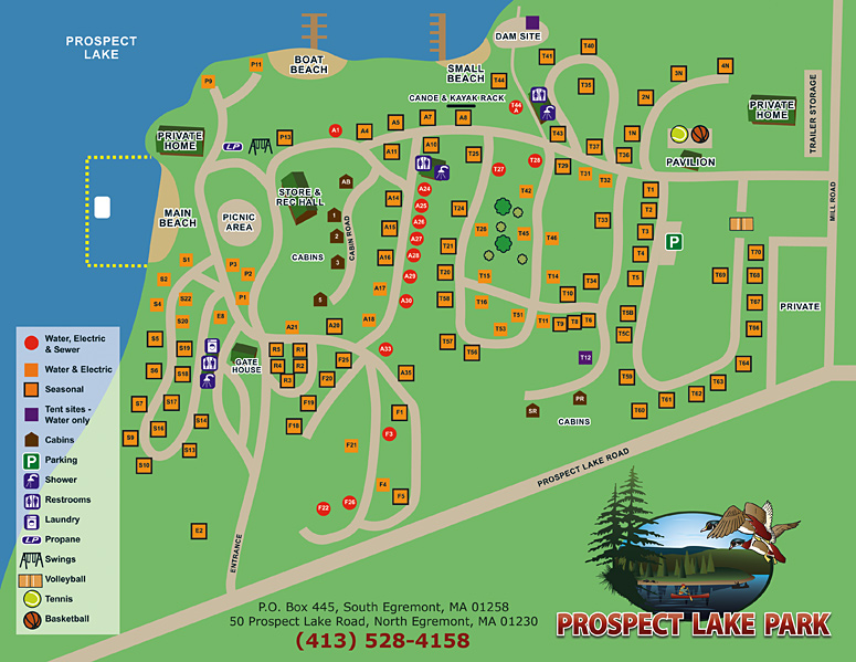 Prospect Lake Park site map. Click to view and print an enlarged PDF version.